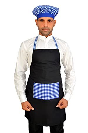 Switchon Waterproof Polyester Black Chef Kitchen Apron with Cap Free Size