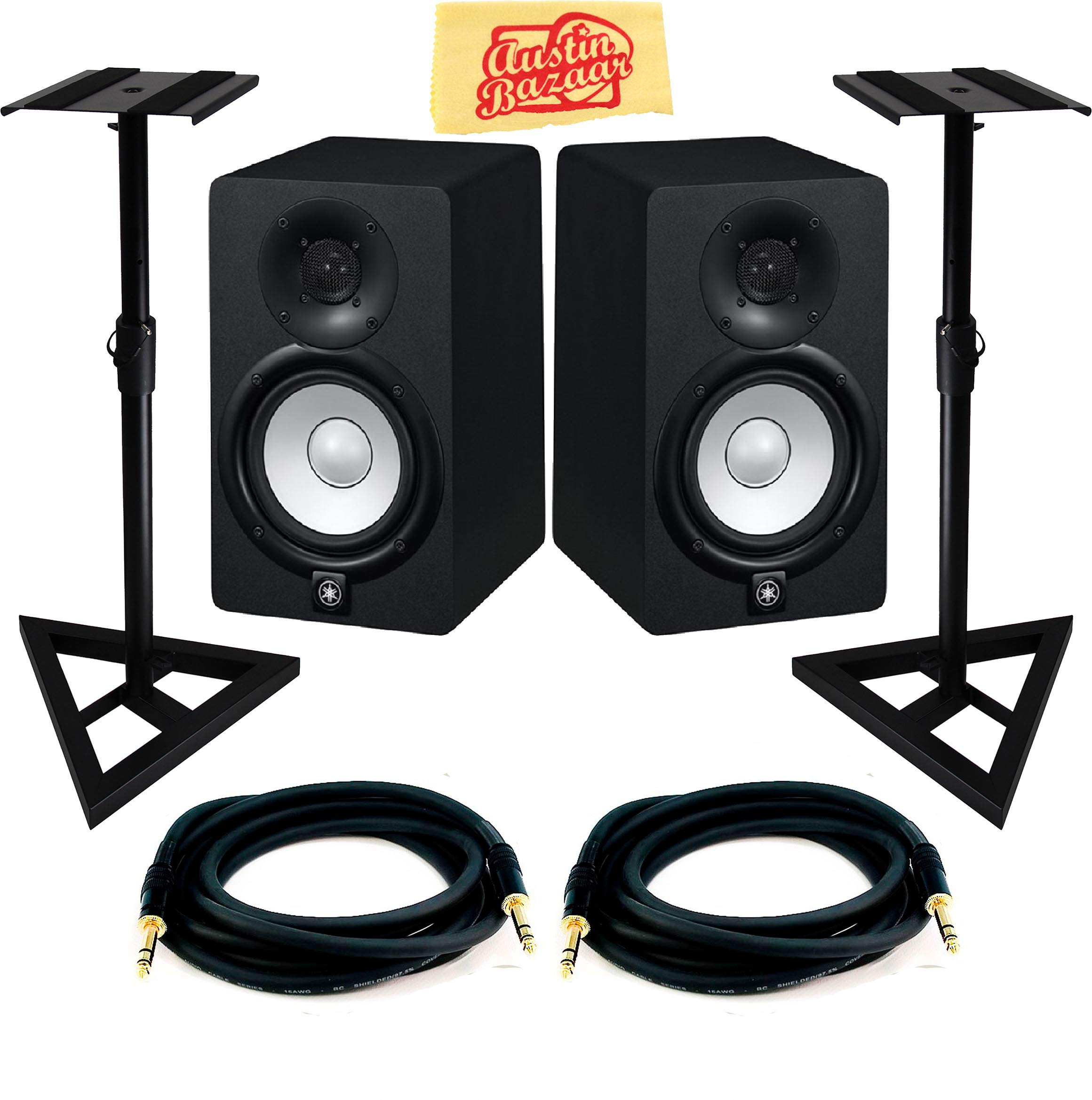 Yamaha Hs5 Powered Studio Monitor Pair Bundle With Two Monitors Stands Trs Cables And Austin Bazaar Polishing Cloth