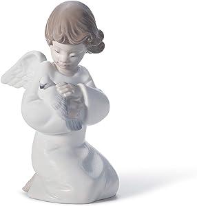 LLADRÓ Loving Protection Angel Figurine. Porcelain Angel Figure.