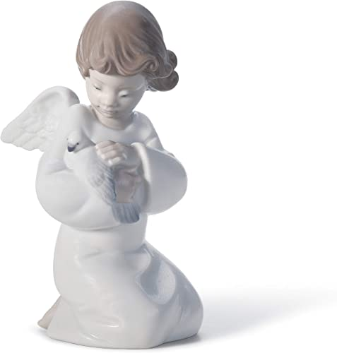 LLADR Loving Protection Angel Figurine. Porcelain Angel Figure.