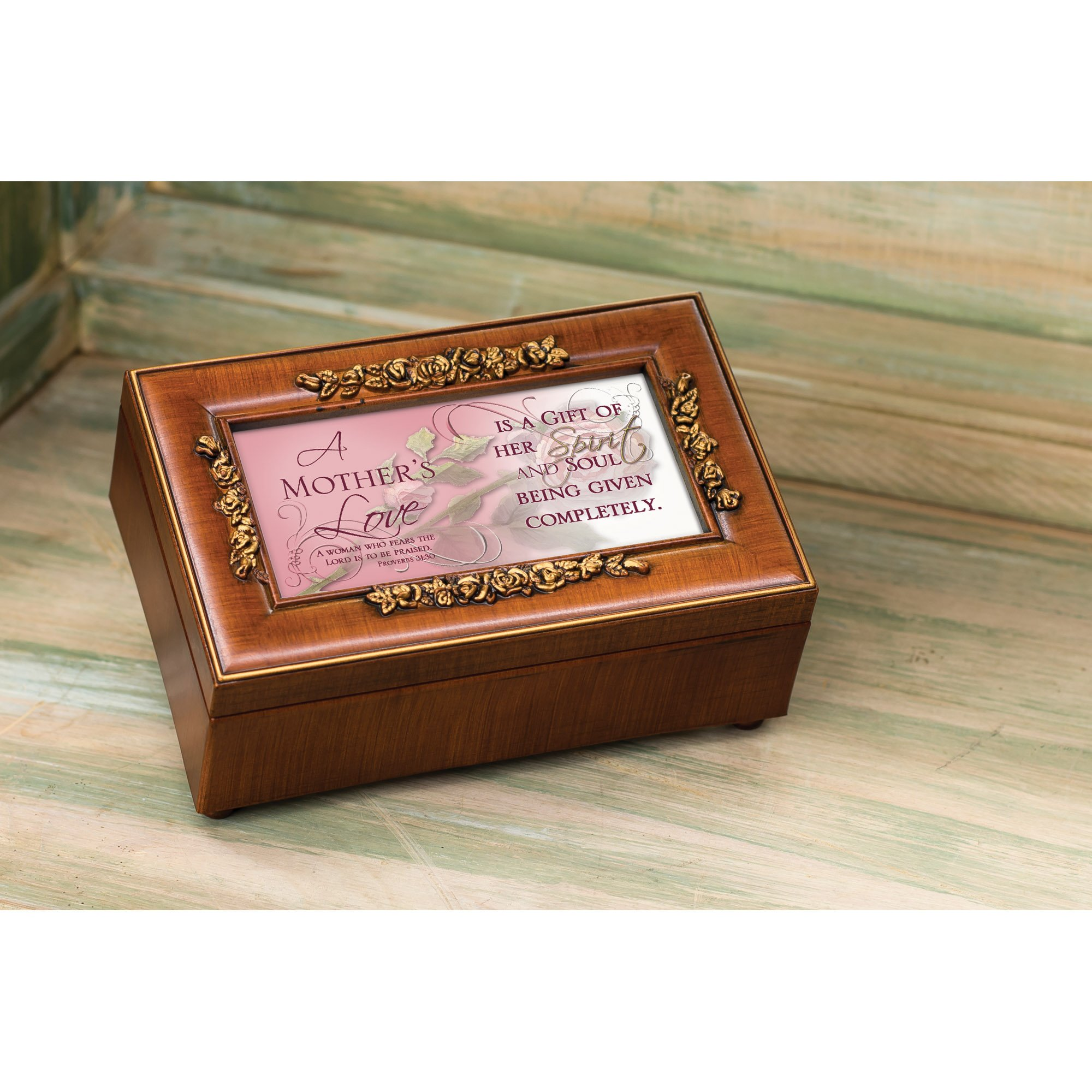Cottage Garden Mother's Love Inspirational Decorative Woodgrain Rose Music Box - Plays How Great Thou Art by Cottage Garden (Image #5)