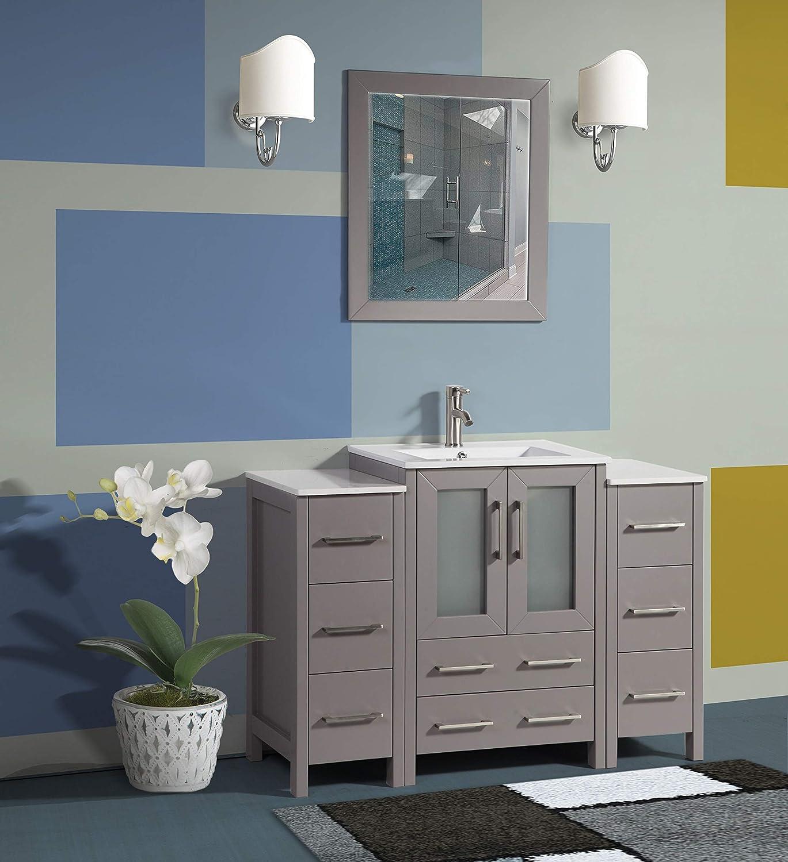 Amazon Com Vanity Art 48 Inch Single Sink Modern Bathroom Vanity Combo Set 2 Side Cabinets 1 Shelf 8 Drawers Ceramic Top Bathroom Cabinet With Free Mirror Va3024 48 G Kitchen Dining