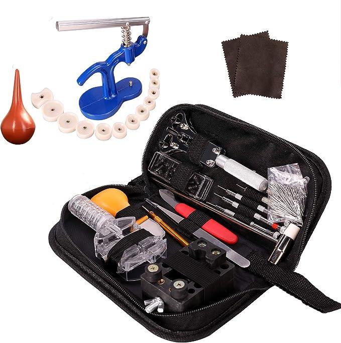 Z ZELUS 518 Pcs Kit de Herramientas de Reparación de Relojes Herramientas Relojeria Portátil con Varios Accesorios Profesionales: Amazon.es: Relojes