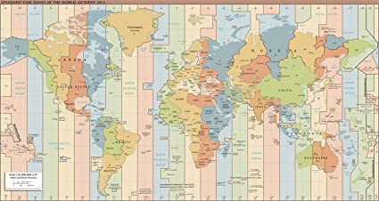 Amazon.com: Map Poster - Standard Time Zones of The World (2015) 13 ...