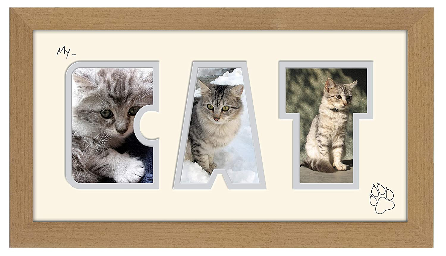 My Cat Photo Frame Word Frame Light Oak Wood Finish Birthday Picture Gift Present Photos in a Word