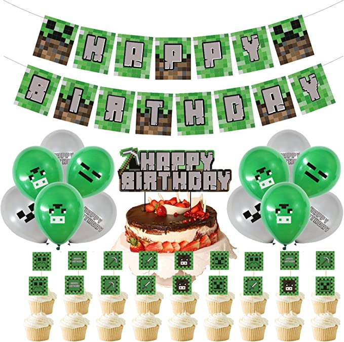 "Amazon.com: 32Pack Pixel Minecraft Game Style Birthday Party Supplies - Miner Crafting Style Decorations including ""HAPPY BIRTHDAY"" Banner, Cupcake and Cake Topper, Latex Balloons for Miner Crafting Gamer, Kids, Children, Adults Birthday Party Favors Decorations Sets: Toys & Games"