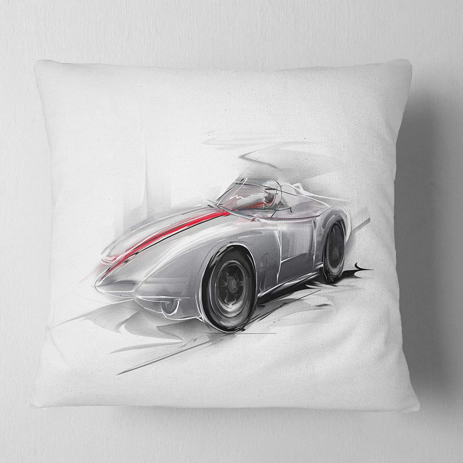 Designart CU7320-26-26 Silver Formula One Digital Art Car Cushion Cover for Living Room in Sofa Throw Pillow 26 in x 26 in Insert Printed On Both Side