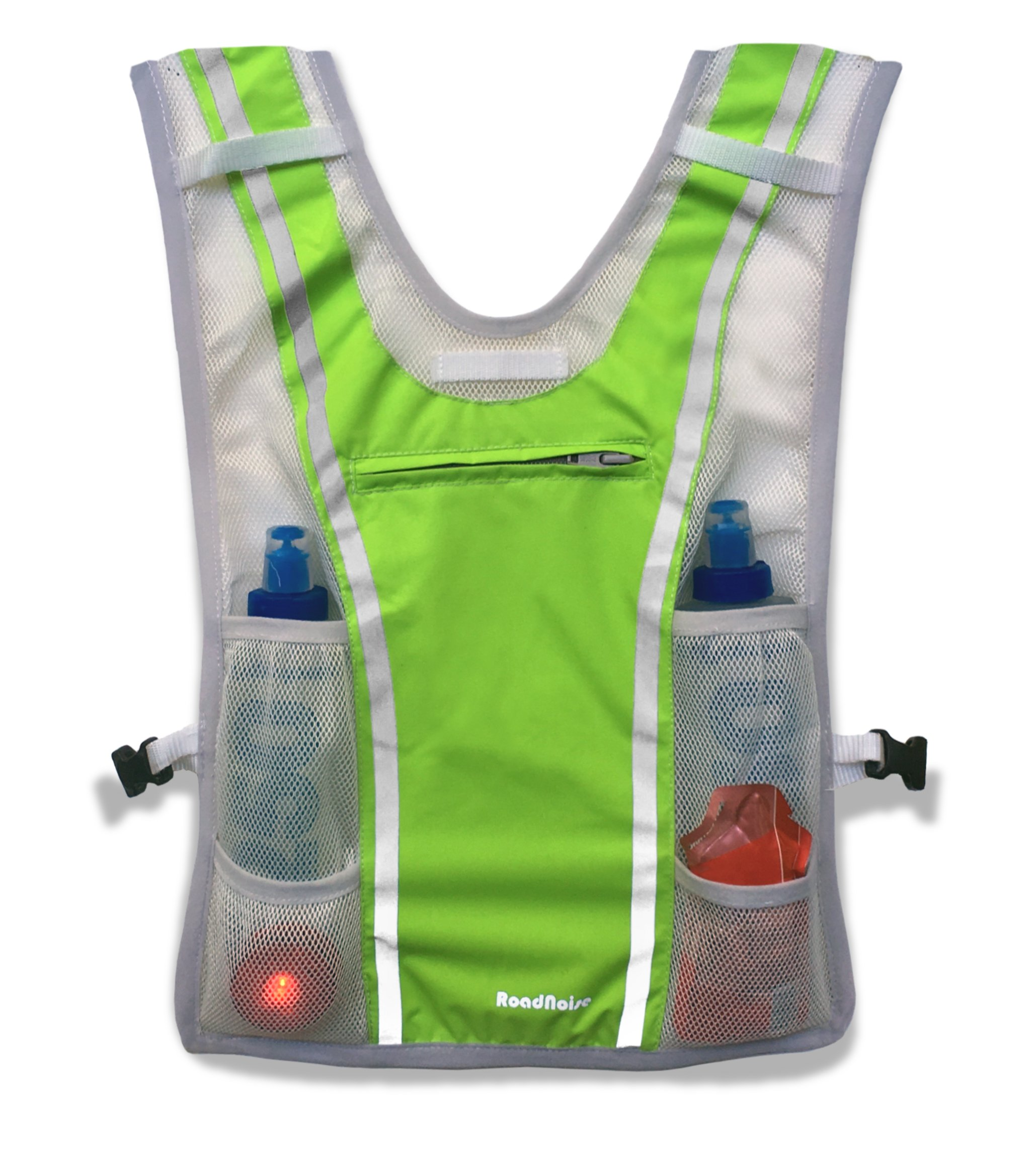 Roadnoise Long Haul Vest Running and Cycling Vest with speakers. Safer running and riding with music. (Hi Vis Green, X-Small/Small) by Roadnoise (Image #4)