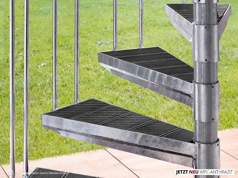 InterCon exterior Escaleras Acero Escaleras K2 Wood Edition WPC Diámetro 120/140/160/180/200 cm, gris: Amazon.es: Bricolaje y herramientas