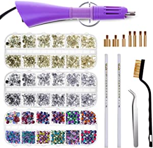 Hot Fix Applicator with Rhinestones, Cridoz Hot Fix Rhinestone Applicator Tool Kit Include 3 Boxes of Rhinestones, 7 Different Sizes Tips, Tweezers and Brush for Crafts on Clothes, Shoes and Jeans