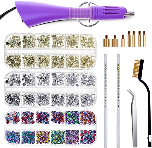 Cridoz Hot Fix Rhinestone Applicator Tool Kit Include 3 Boxes of Rhinestones Tweezers and Brush for Crafts on Clothes Hot Fix Applicator with Rhinestones Shoes and Jeans 7 Different Sizes Tips