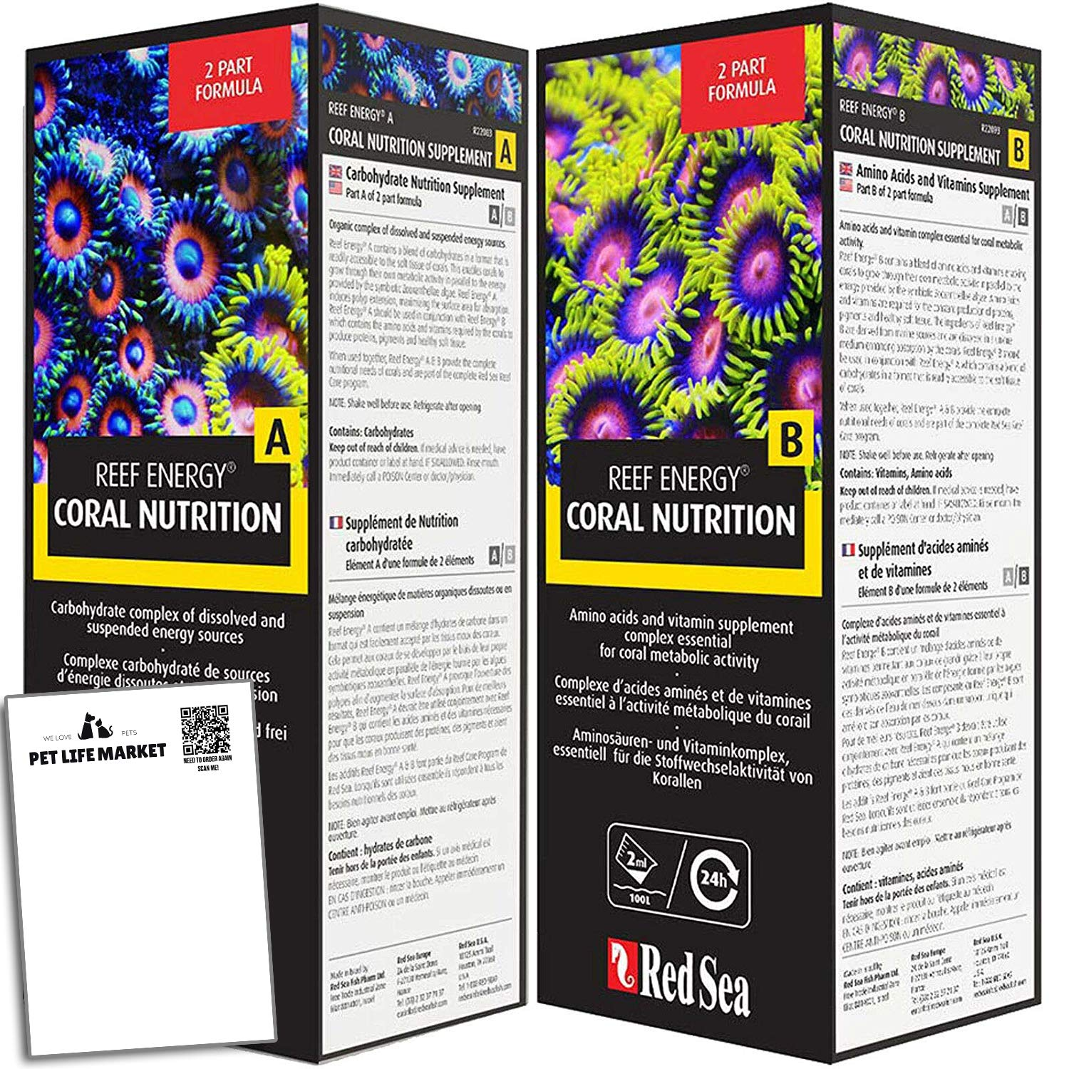 RedSeaReef Energy A&B Supplements Coral Nutrition, Combo Pack 1L Each by RedSeaReef