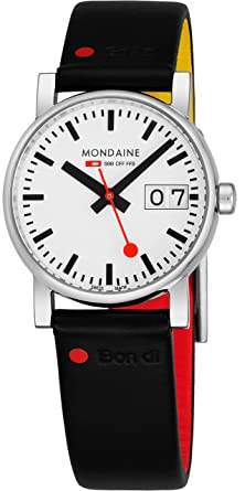 Mondaine SBB Quartz Stainless Steel And Leather Casual Watch Color Black Model