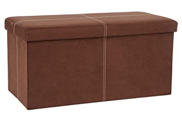 Astounding Fhe Group Microsuede Folding Storage Ottoman Bench 30 By 15 By 15 Inches Brown Gamerscity Chair Design For Home Gamerscityorg