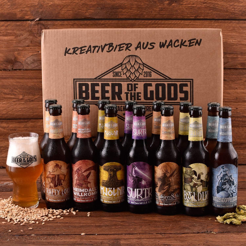 Wacken Brauerei Göttergabe - Pack de regalo de cervezas caseras - Set de degustación - 14 Cervezas de los dioses (de 0,33 l cada una) y vaso de cristal