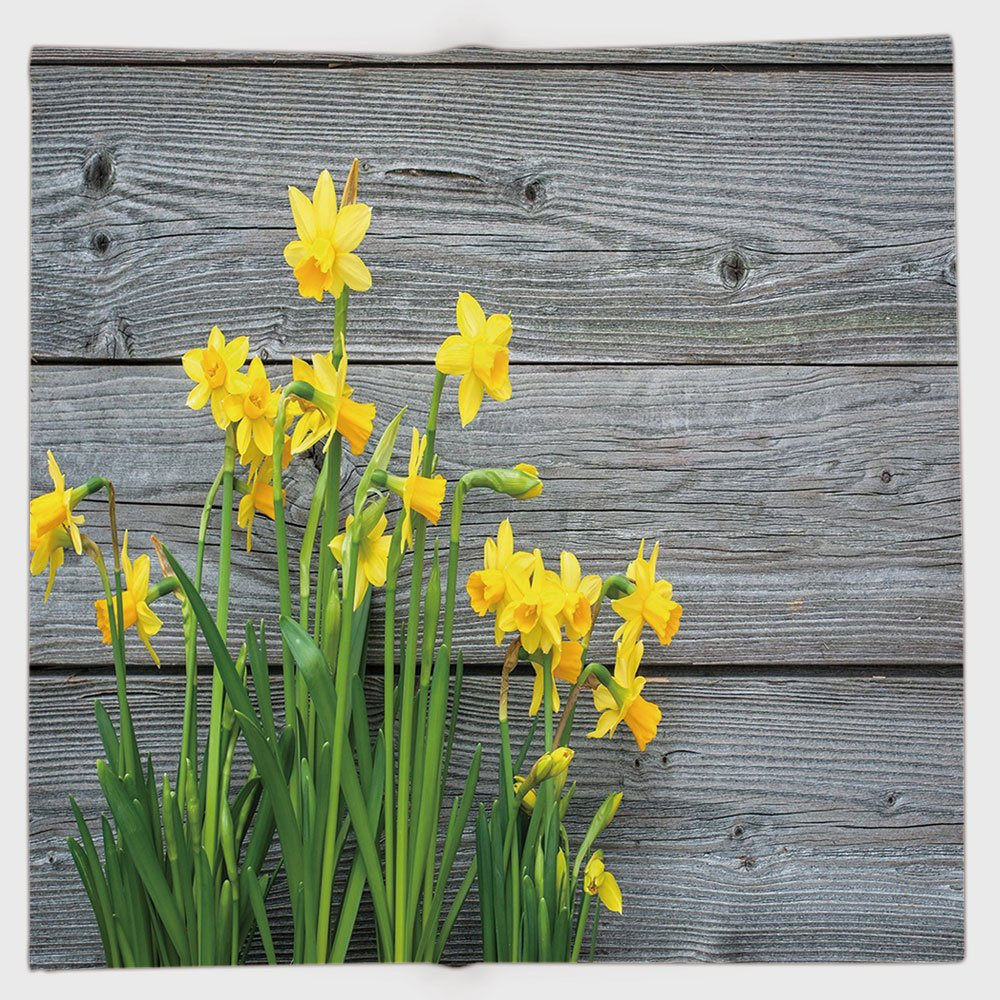 Cotton Microfiber Hand Towel,Yellow Flower,Bouquet of Daffodils on Wood Planks Gardening Rustic Country Life Theme,Yellow Grey,for Kids, Teens, and Adults,One Side Printing