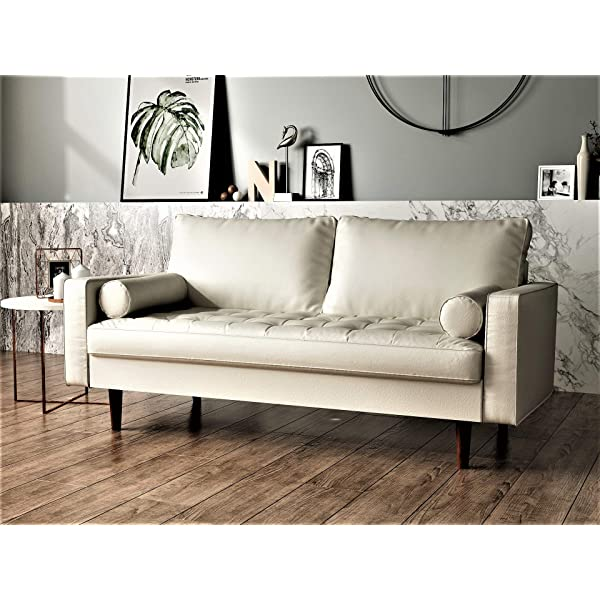 "Container Furniture Direct S5454-L Orion Mid Century Modern PU Leather Upholstered Living Room Loveseat with Bolster Pillows, 50.39"", White"