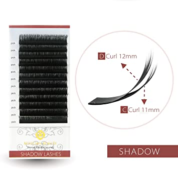 f6d4596ec22 Amazon.com : BEYELIAN Shadow Lashes Russian Volume Eyelash Extensions  0.07mm Double Curls C D Two Lengths 10mm 11mm on Each Row : Beauty