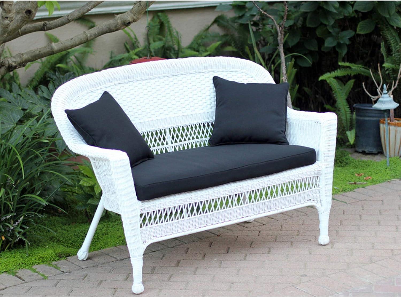 Amazon Com 51 Jasmine White Resin Wicker Patio Loveseat Midnight Black Cushion And Pillows Garden Outdoor