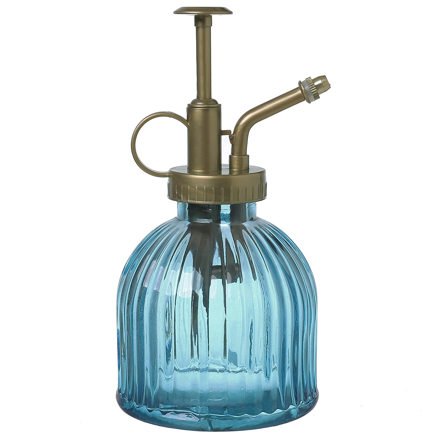 MyGift Vintage Style Blue Glass Water Spray Bottle/Decorative Plant Mister  with Top Pump