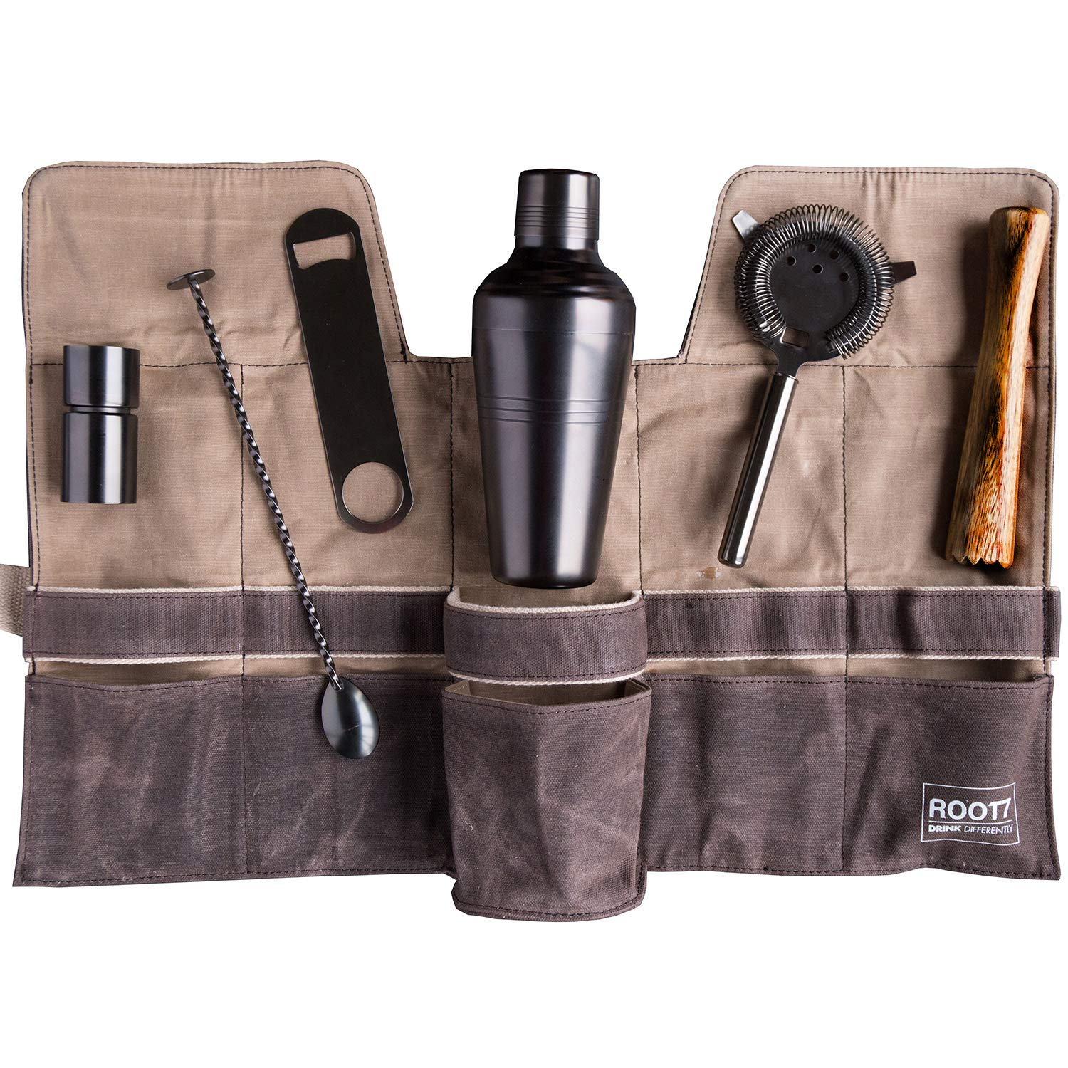 Premium Modern Titanium Coated Professional Bartender Kit, Home and Workplace Cocktail Making Set, 19oz Shaker, Bar Blade, Jigger, Wood Muddler, Strainer, Spoon and Wax Canvas Bag by Root7 ROOT7CBAG