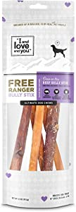 "I and love and you"" Free Ranger Natural Grain Free Bully Stix - 100% Bully Stick / Beef Pizzle (6-inch and 12-inch)"