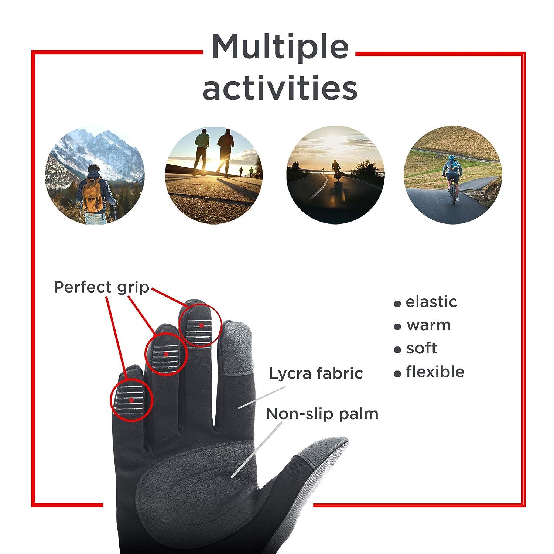 axelens Guanti Touch Screen Capacitivi Invernali Sportivi Caldi Antivento per Smartphone Cellulari e Tablet Unisex