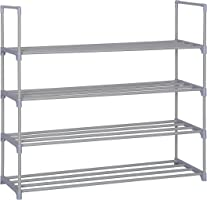 "Homebi Shoe Rack Shoe Tower Organizer Cabinet Entryway Stackable Storage Shelf Unit with 4-Tier Durable Metal Shelves,35.6""W x 12.0"" D x 33.27""H"