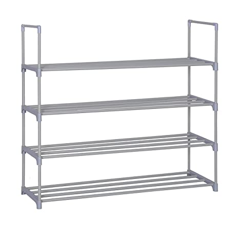 Home-Like 4-Tier Shoe Rack Personalizado y DIY Shoe Torre Organizador Almacenamiento de metal Rack color gris 90,4 x 30,5 x 84,5 cm