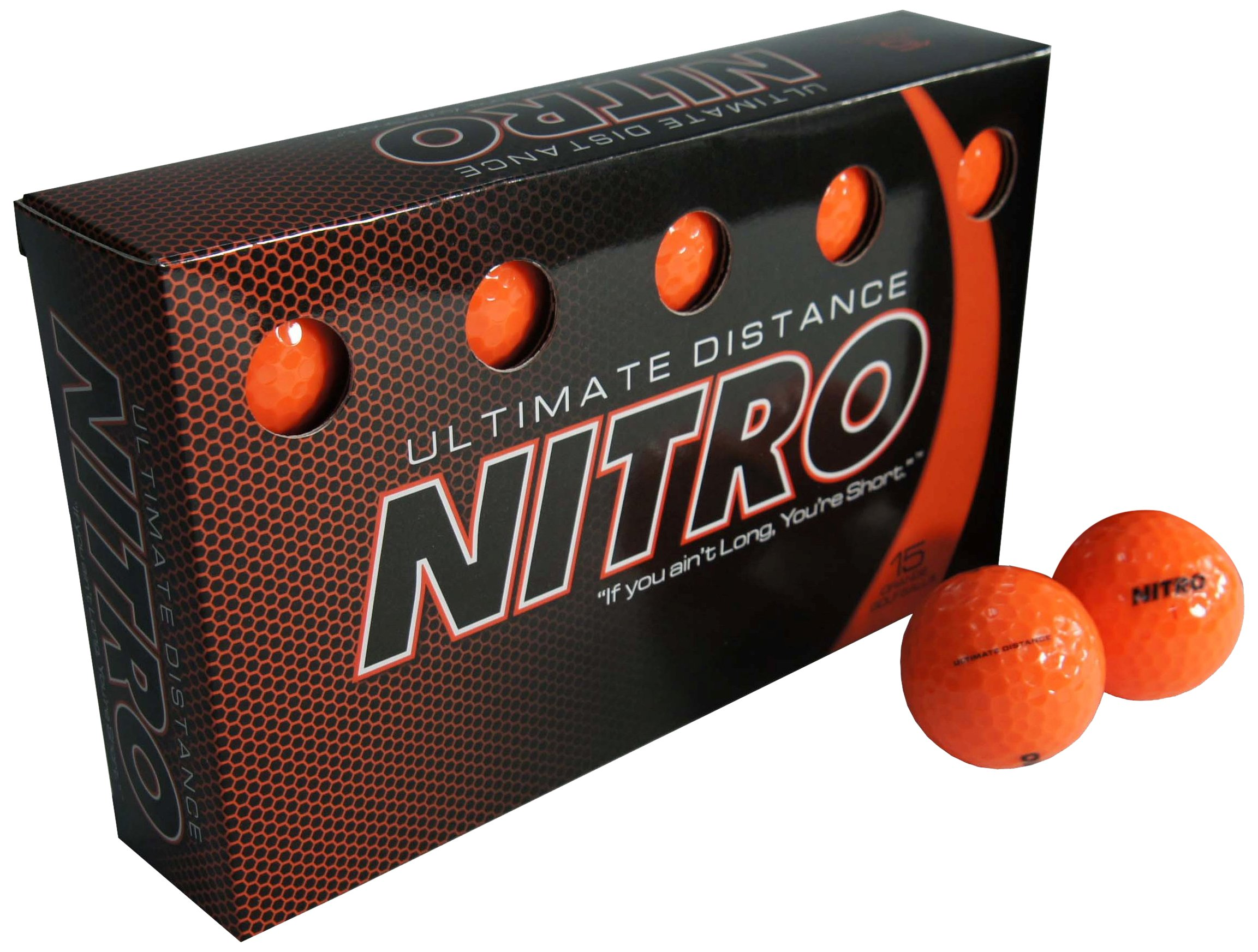 Long Distance High-Durability Golf Balls (15PK) All Levels-Nitro Ultimate Distance Titanium Core High Velocity Great Stop & Sticking ability Golf Balls USGA Approved-Total of 15-Orange by Nitro