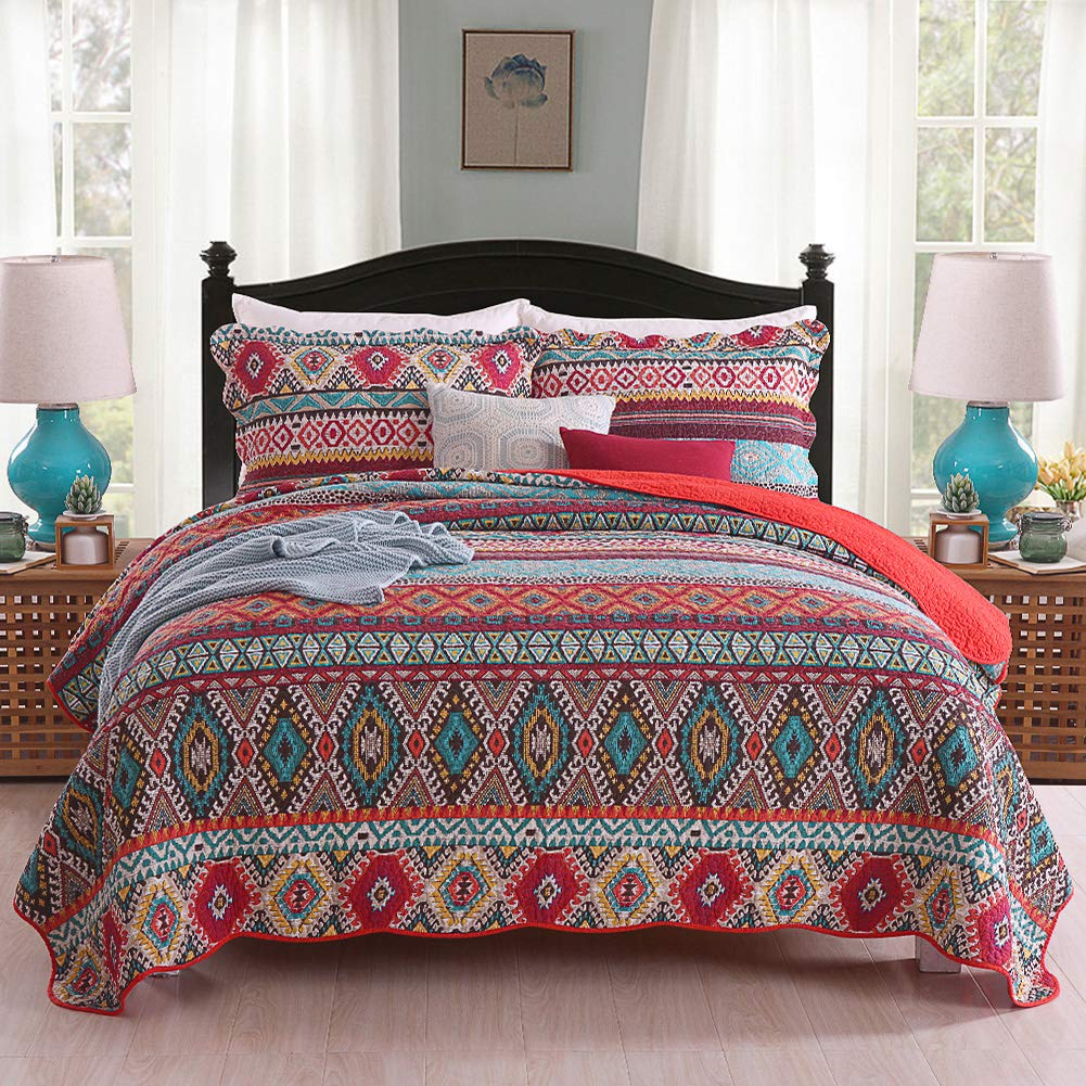 Umineux Quilt Cotton Bedding Set Queen, Reversible 3-Piece Bedspread Coverlet Set with Shams Printed Patchwork Oversized Soft for All Season - Striped Geometric Style