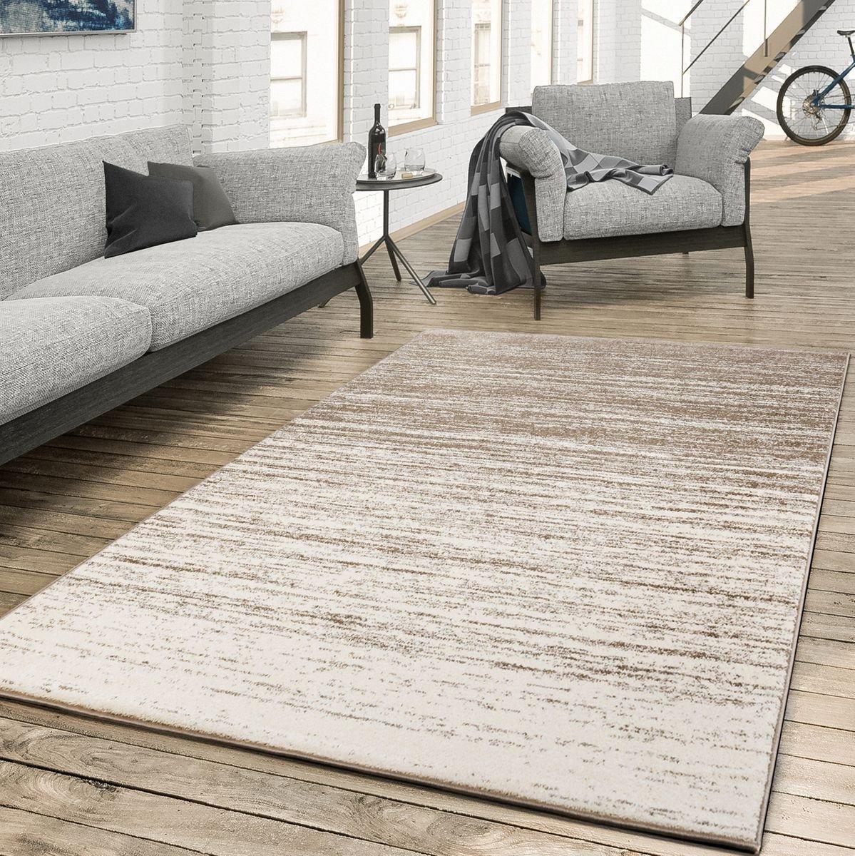 T&T Design Teppich für Das Wohnzimmer Farbverlauf Modern Creme Beige, Größe 230x320 cm