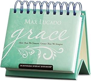 "Dayspring Max Lucado - Grace - Perpetual Calendar (85394), 5 1/4"" x 4 1/4"" x 1 1/2"", Blue"