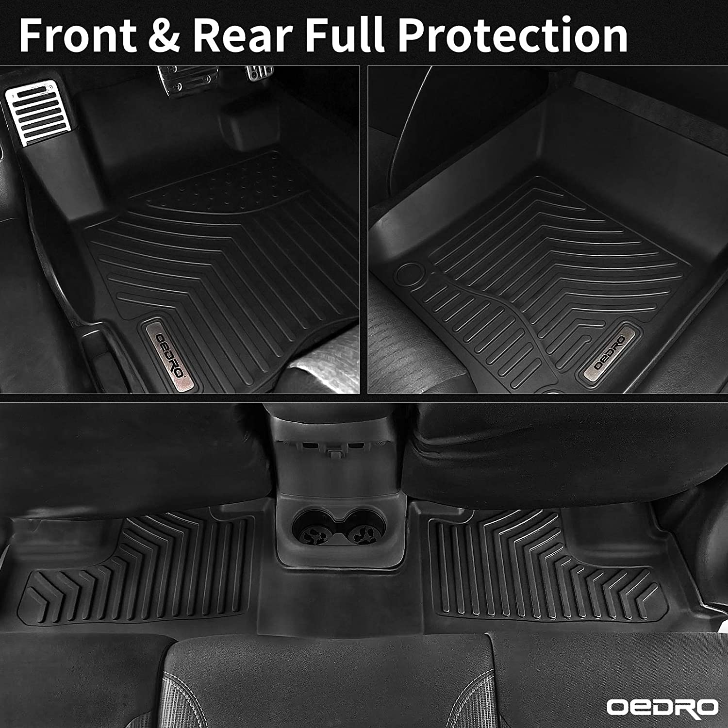 All Weather Guard Front /& Rear 2 Row Liner Set Black TPE Custom Fit oEdRo Floor Mats Compatible with 2020 Toyota Corolla Hybrid