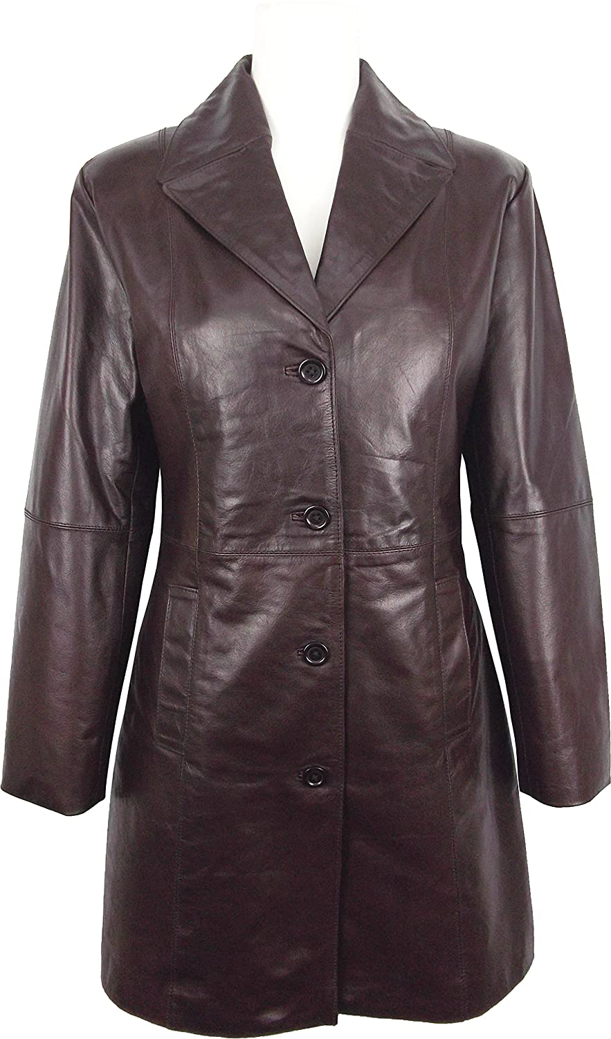760e5c214a36 Unicorn Womens Three Quarter Length Coat Real Leather Jacket - Glazed Brown  #GO at Amazon Women's Coats Shop