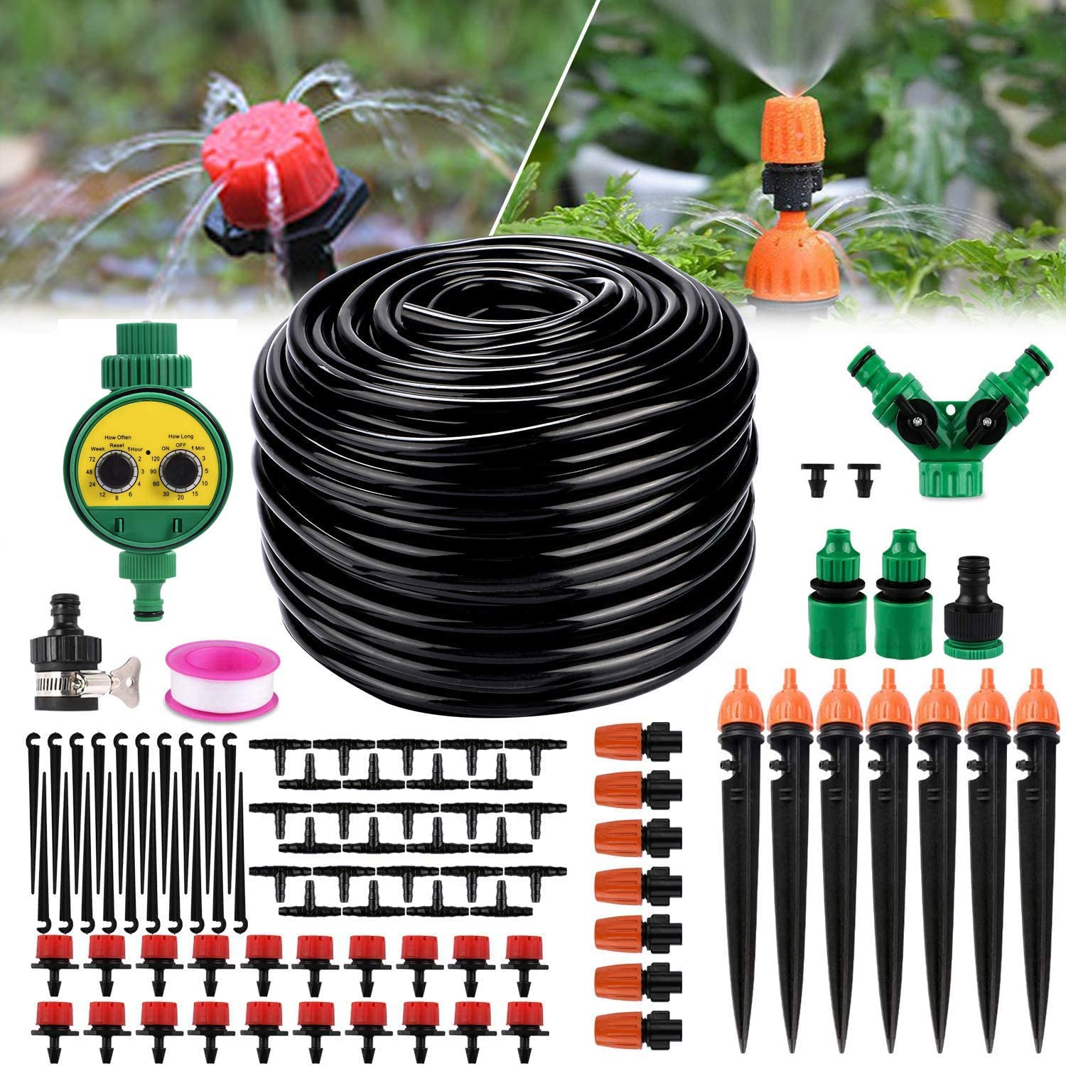 Drip Irrigation Kit, 82ft Automatic Micro Garden Irrigation System with Water Timer 1/4 Inches Blank Distribution Tubing Hose Adjustable Sprinkler Watering Drip Set