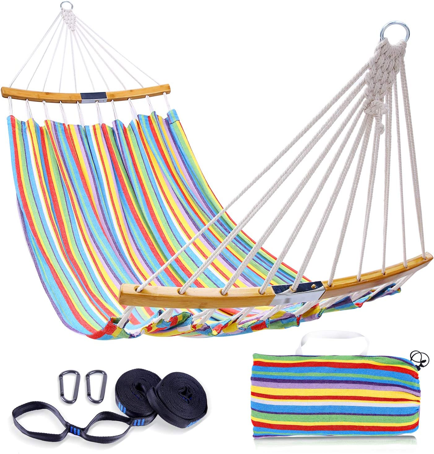 Double Hammock Swing with Tree Straps, Ohuhu Folding Curved-Bar Design 2020 Upgraded Space-Saving Bamboo Hammock with Carrying Bag, Portable Hammock for Patio, Backyard, Camping, Beach, Colorful Stripe : Garden & Outdoor