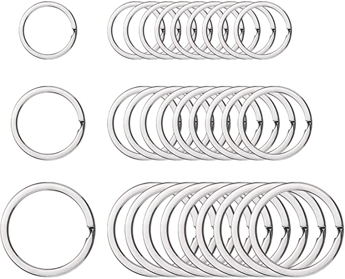 10pcs Brass Key Ring Split ring Flat keyring Split Key ring for Key Fob Hardware Leather keychain key holder