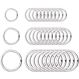 Outus Round Flat Key Chain Rings Metal Split Ring for Home Car Keys Organization, 3/4 Inch, 1 Inch and 1.25 Inch, 30 Pieces, Silver