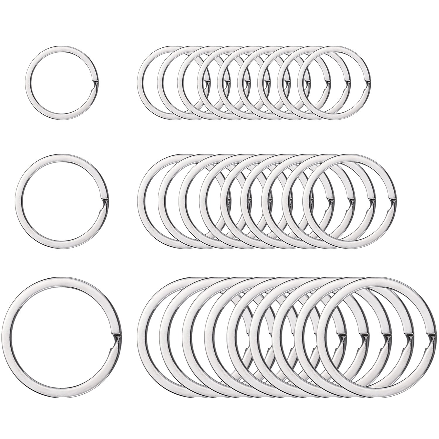 Outus Round Flat Key Chain Rings Metal Split Ring for Home Car Keys Organization, 3/4 Inch, 1 Inch and 1.25 Inch, 30 Pieces (Silver)