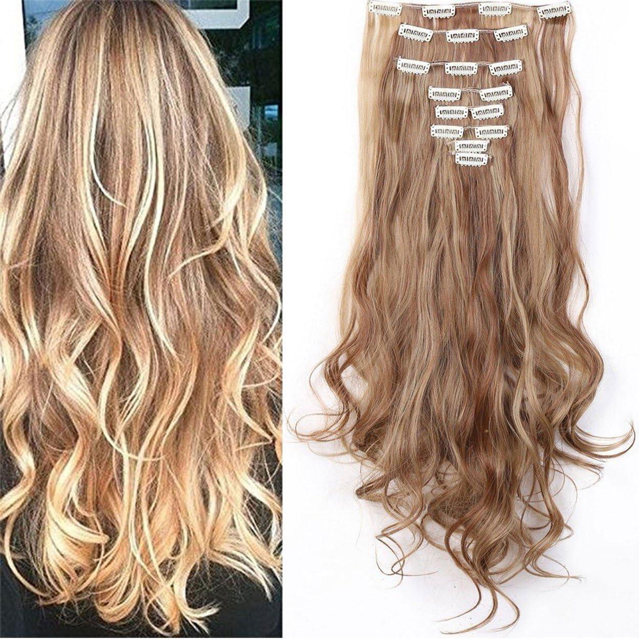 S-noilite® Set 8pcs 60cm extension capelli clip nelle estensioni dei capelli della parte dei capelli ondulato o liscio pieno Testa vari colori Marrone chiaro e cenere bionda
