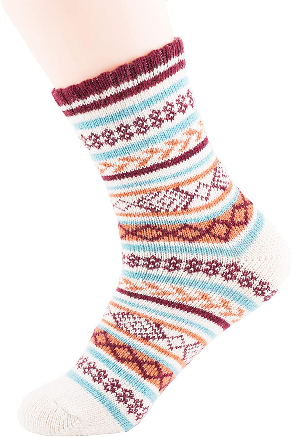 TooPhoto Women Socks 5pcs Colorful Wool Cotton Winter Warm Knit Thick Fall Crew Casual