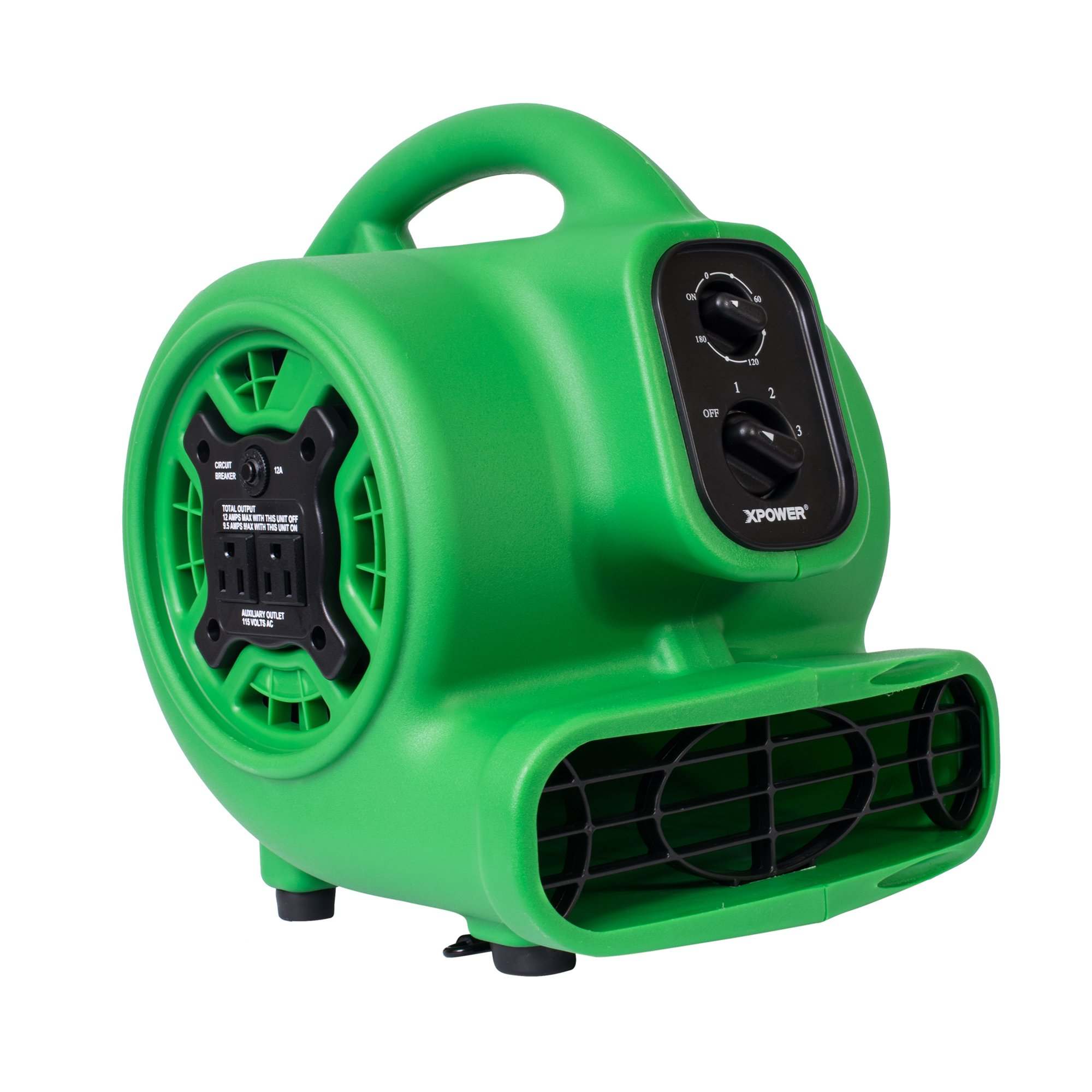 XPOWER 848025023419 1/5 hp 800 CFM 2.3 Amp 4 Positions 3 Speeds Mini Air Mover with Daisy Chain & 3-Hour Timer, Green