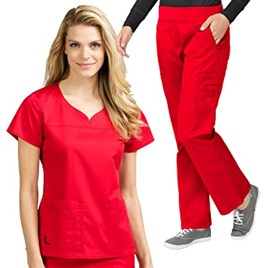 ff91926ed6a Amazon.com: Med Couture MC2 Women's Lexi Scrub Top & MC2 Yoga Pant ...