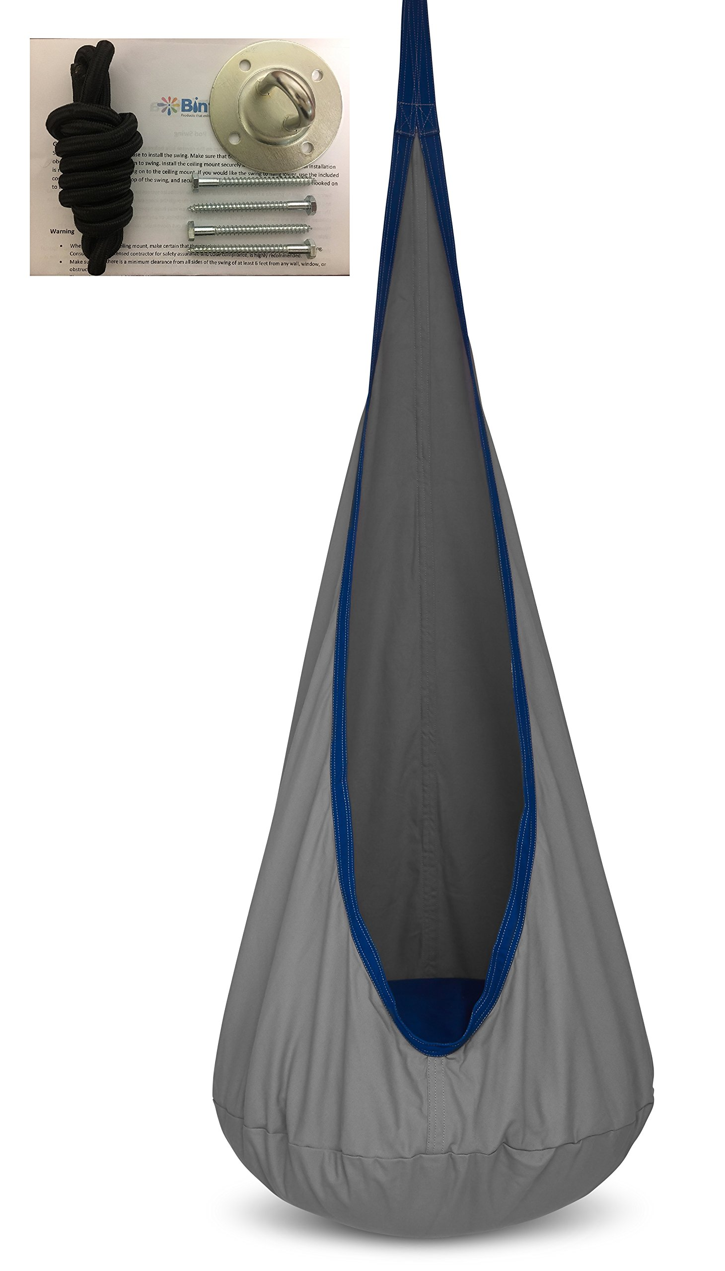 Child Pod Swing - Indoor Sensory Hammock - Including All Hardware Accessories - Includes Removable Fluffy Cushion