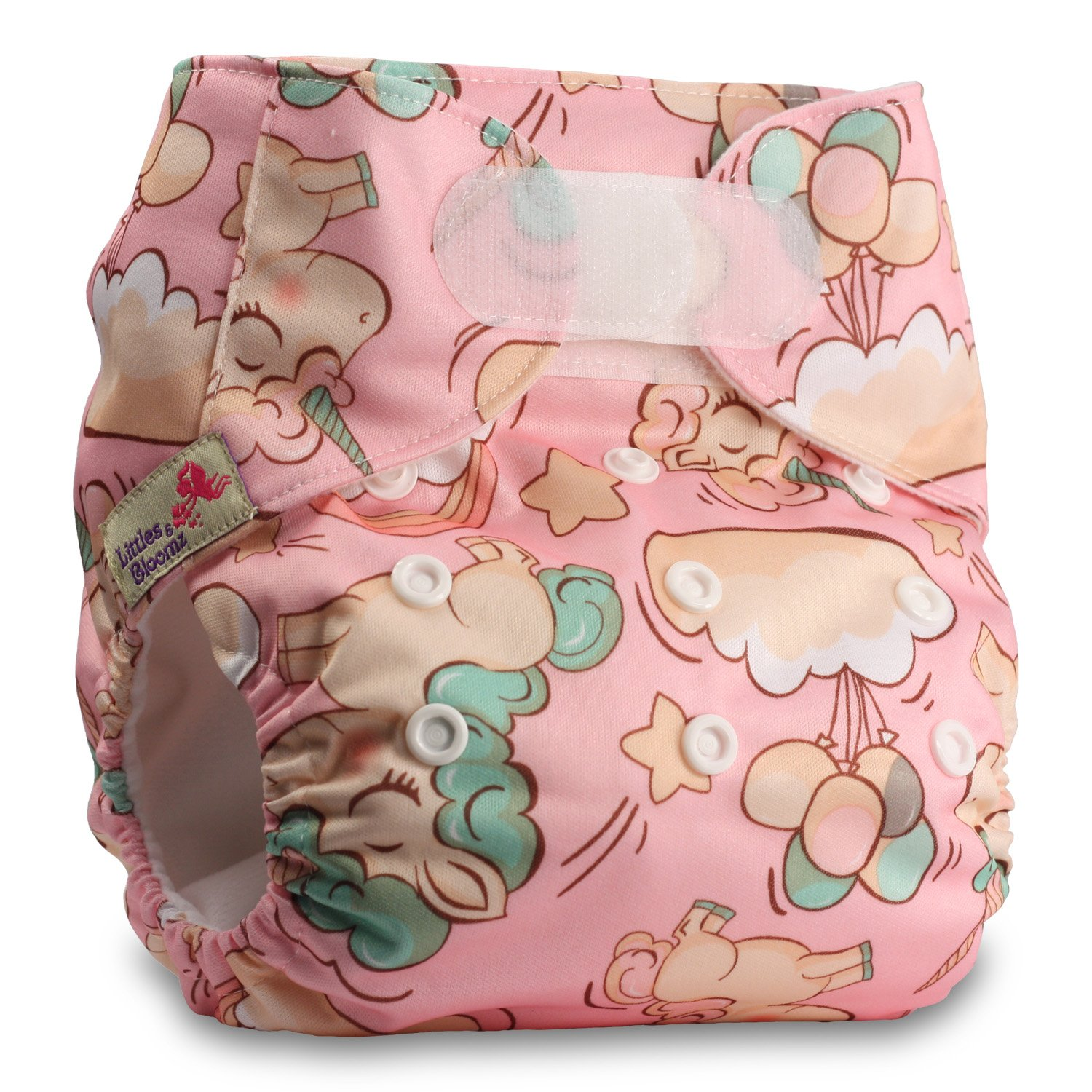 Set of 1 Littles /& Bloomz Reusable Pocket Cloth Nappy Pattern 48 Fastener: Hook-Loop with 1 Bamboo Insert