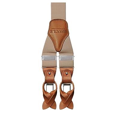 charme de coût chaussures exclusives paquet à la mode et attrayant BRUCLE bretelles larges homme amovibles élastique à pinces ou à boutons