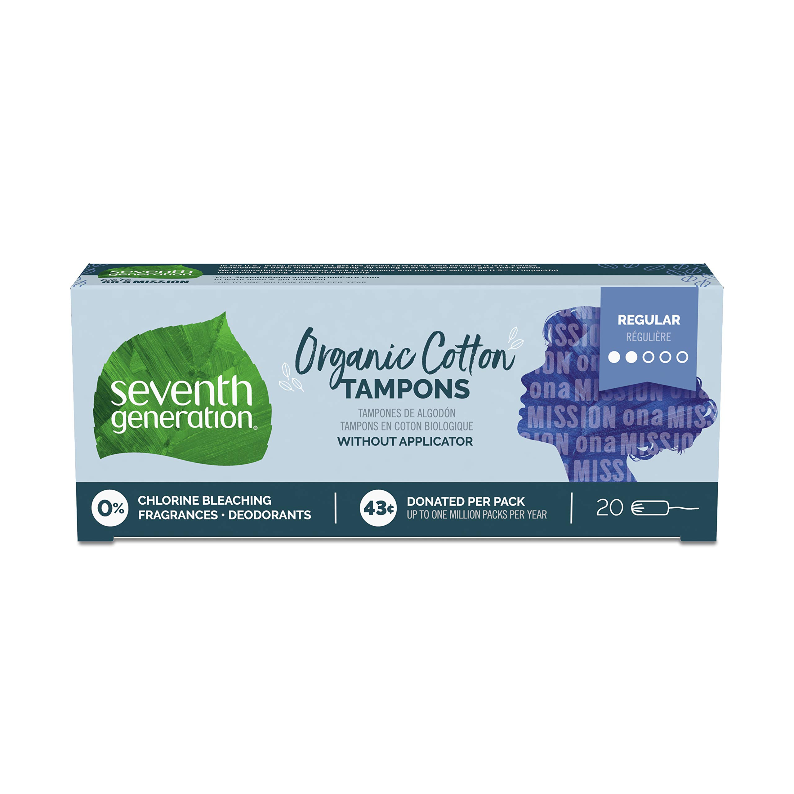 Seventh Generation Tampons, Non-Applicator, Organic Cotton, Regular Absorbency, 20 count, 12 Pack (Packaging May Vary) by Seventh Generation