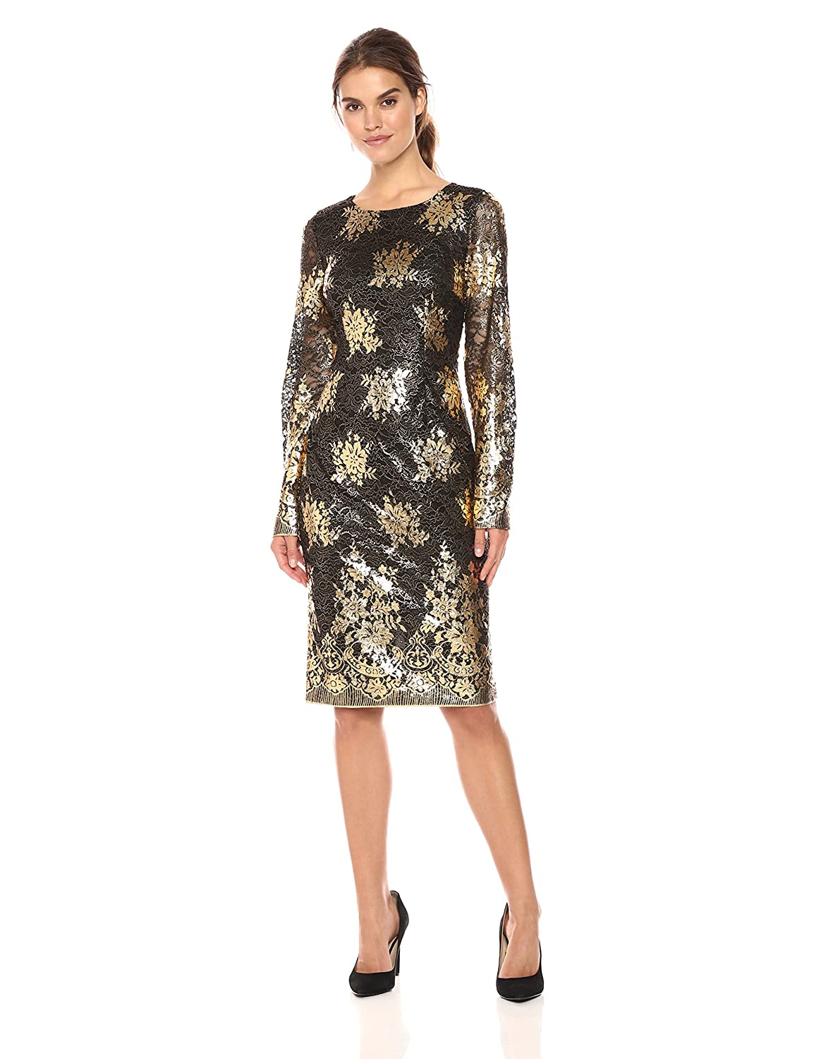 7ced07b4ad9 Nicole Miller New York Women s Long Sleeve Metallic Lace Fitted Cocktail  Dress at Amazon Women s Clothing store