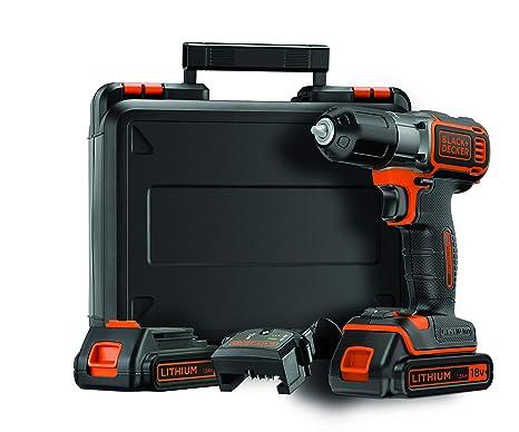 Black+Decker ASD184KB Autosense - Taladradora inalámbrica (18 V, 2 baterías de iones de litio de 1,5 Ah, con cargador y maletín)